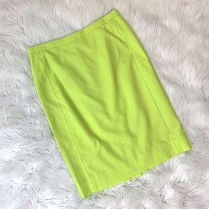 NWT J. Crew No. 2 Pencil Skirt Citron Green {GD}
